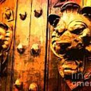 Lion Heads Gothic Door Art Print