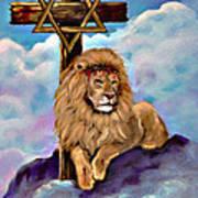 Lion Of Judah At The Cross Art Print