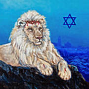 Lion Of Judah Before Jeruselum Art Print