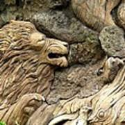 Lion On The Tree Of  Life Art Print