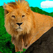 Lion Prowling Art Print