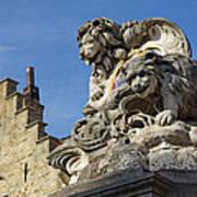 Lion Statue In Bruges Art Print