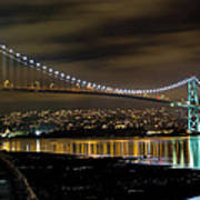 Lions Gate Bridge At Night Art Print