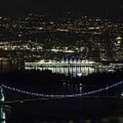 Lions Gate Bridge At Night Art Print