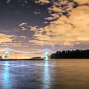 Lion's Gate Bridge Vancouver At Night Art Print