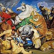Lions Tigers And Leopard Hunt Homage To Rubens Art Print