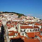 Lisbon Cityscape With Sao Jorge Castle And Cathedral Art Print