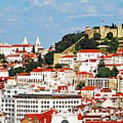 Lisbon Cityscape With Sao Jorge Castle Art Print