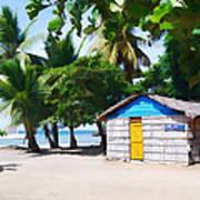 Little Beach Shack Under The Palms Art Print