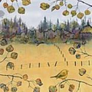 Little Bird And Fence Art Print by Carolyn Doe