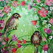 Little Birdies In Green Art Print