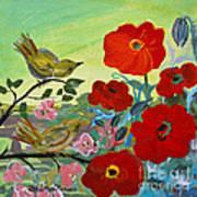 Little Birds And Poppies Art Print