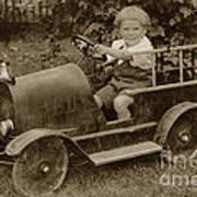 Little Boy In Toy Fire Engine Circa 1920 Art Print