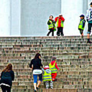 Little Children Climbing Steps Of Lutheran Cathedral Of Helsinki-finland Art Print