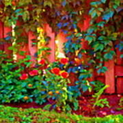 Little Country Scene Pink Flowers Climbing Leaves On Wood Fence Colors Of Quebec Art Carole Spandau Art Print
