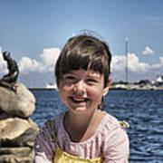 Little Girl By The Little Mermaid Art Print