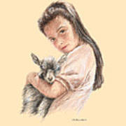 Little Girl Holding A Baby Goat Art Print
