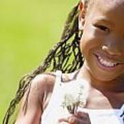 Little Girl Holding Weeds Art Print