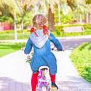 Little Girl On The Bicycle Art Print