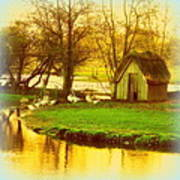 The Geese Have A Little House By The Flood Art Print