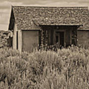 Little House In The Sage Bw Art Print