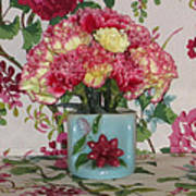 Little Old Vase And Carnations Art Print