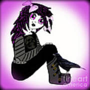 Little Purple Goth Girl Art Print
