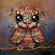 Little Rainbow Flower Owl Art Print