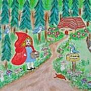 Little Red Riding Hood With Grandma's House On Mailbox Art Print
