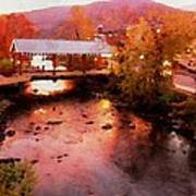 Little River Bridge At Sunset Gatlinburg Art Print