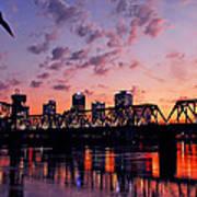 Little Rock Bridge Sunset Art Print