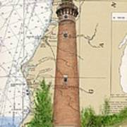 Little Sable Lighthouse Lake Mi Nautical Chart Map Art Cathy Peek Art Print