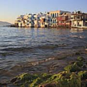 Little Venice At Sunset Mykonos Town Cyclades Greece  Art Print