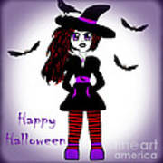 Little Witch Halloween Girl Art Print by Eva Thomas