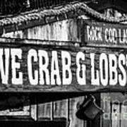 Live Crab And Lobster Sign On Dory Fish Market Art Print