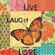 Live Laugh Love Patch Art Print by Debbie DeWitt