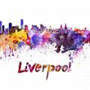 Liverpool Skyline In Watercolor Art Print