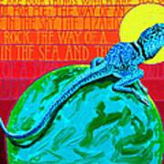 Lizard on a Rock Art Print
