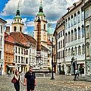Ljubljana Town Square Art Print