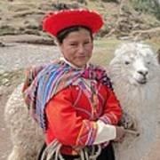 Llama Lady Art Print