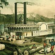 Loading Cotton On The Mississippi, 1870 Colour Litho Art Print