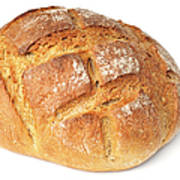 Loaf Of Bread On White Art Print