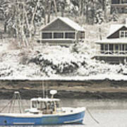 Lobster Boat After Snowstorm In Tenants Harbor Maine Art Print by Keith Webber Jr