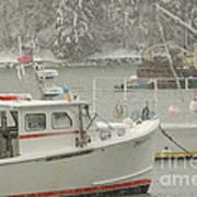 Snowy Lobster Boats Art Print