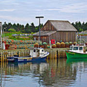 Lobster Fishing Baskets And Boats In Forillon Np-qc Art Print