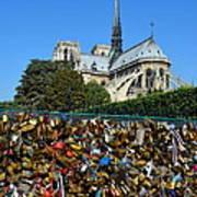 Locks Galore On The Pont De L'archeveche In Paris Art Print