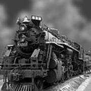 Locomotive 639 Type 2 8 2 Front And Side View Bw Art Print