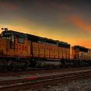 Locomotive Sunset Art Print
