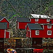 Lofoten Fishing Huts 2 Print by Steve Harrington