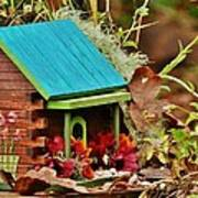 Log Cabin Birdhouse In Fall Art Print